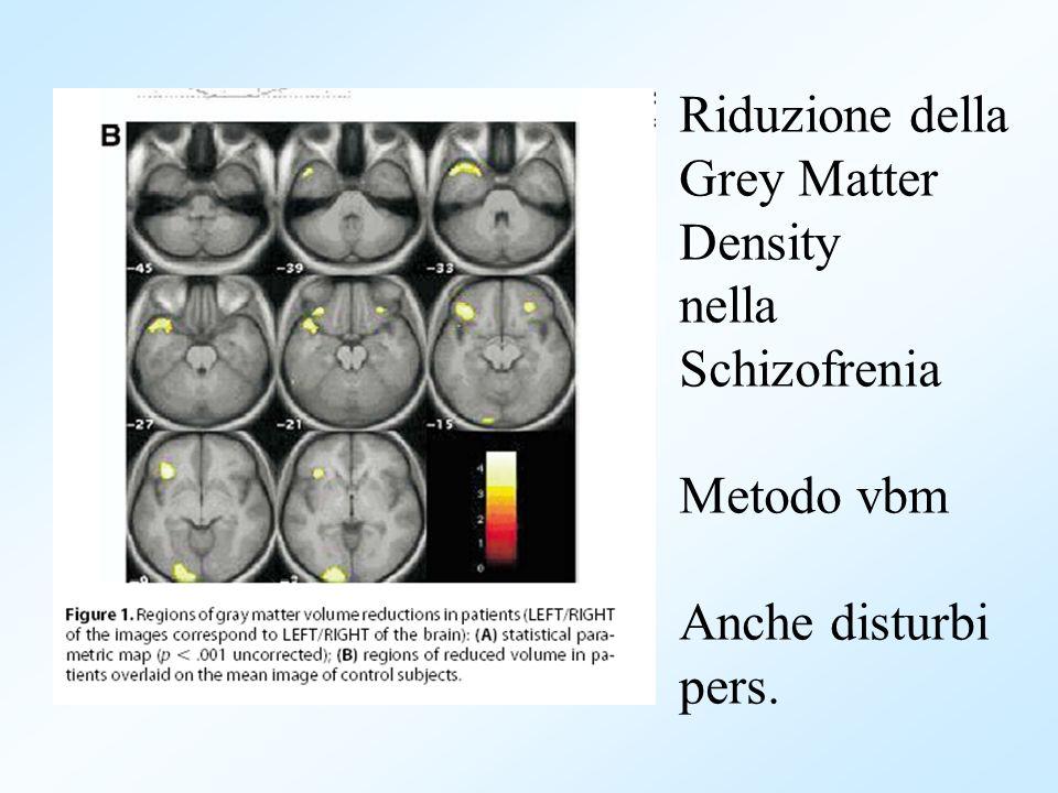 Riduzione della Grey Matter Density nella Schizofrenia Metodo vbm Anche disturbi pers.
