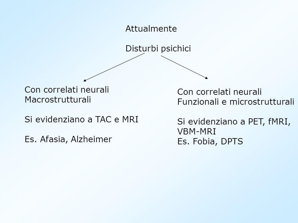 Attualmente Disturbi psichici. Con correlati neurali. Macrostrutturali. Si evidenziano a TAC e MRI.