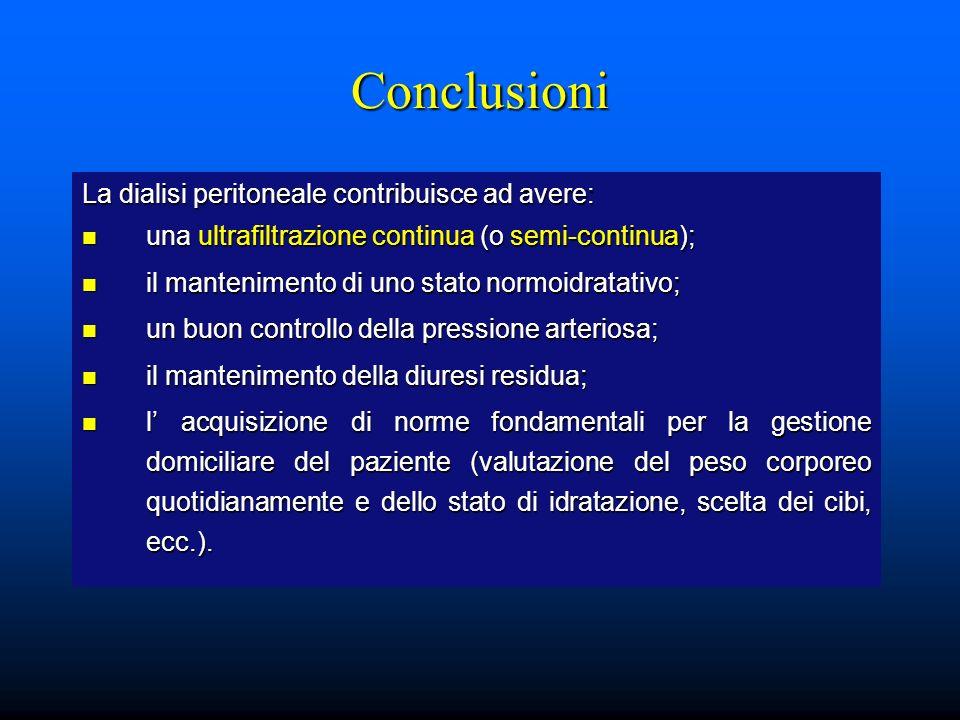 Conclusioni La dialisi peritoneale contribuisce ad avere: