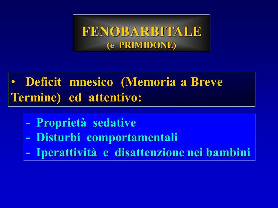 FENOBARBITALE Deficit mnesico (Memoria a Breve Termine) ed attentivo: