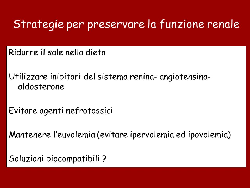 Strategie per preservare la funzione renale
