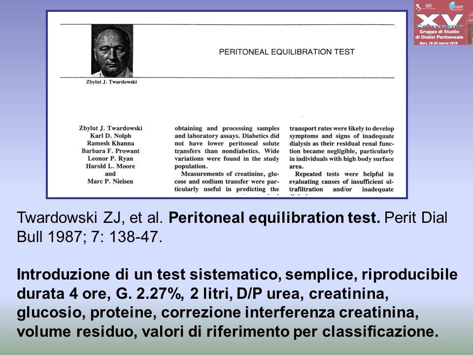 Twardowski ZJ, et al. Peritoneal equilibration test
