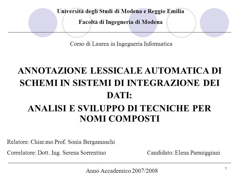 Facoltà di Ingegneria di Modena ANALISI E SVILUPPO DI TECNICHE PER