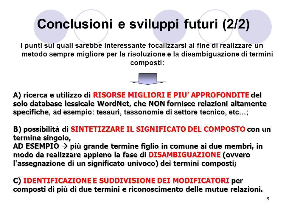 Conclusioni e sviluppi futuri (2/2)