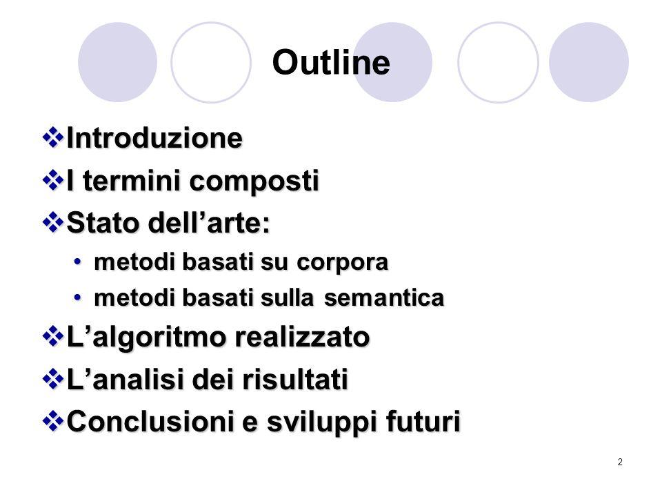 Outline Introduzione I termini composti Stato dell'arte: