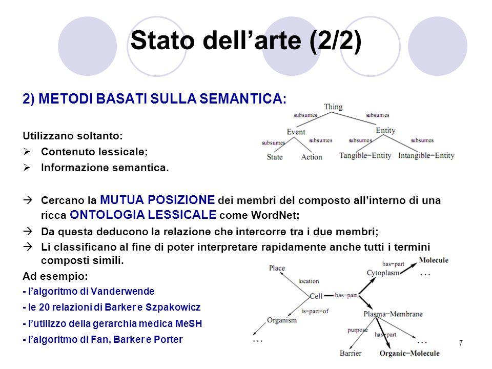 Stato dell'arte (2/2) 2) METODI BASATI SULLA SEMANTICA: