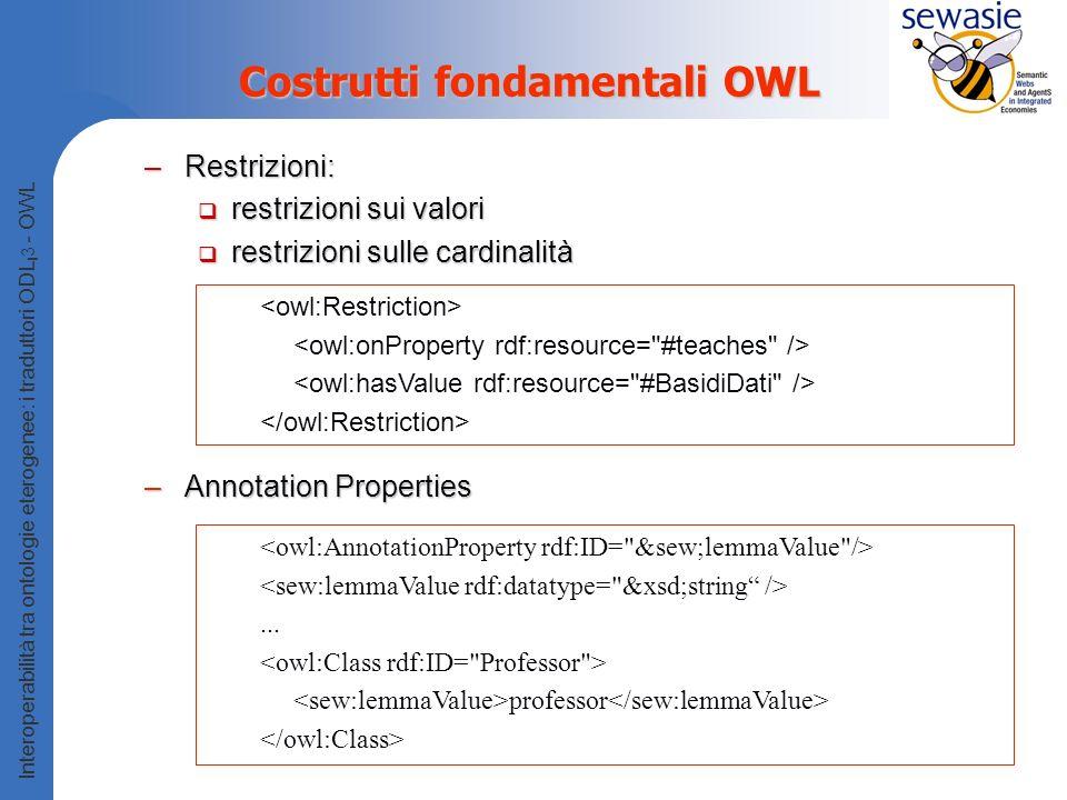Costrutti fondamentali OWL