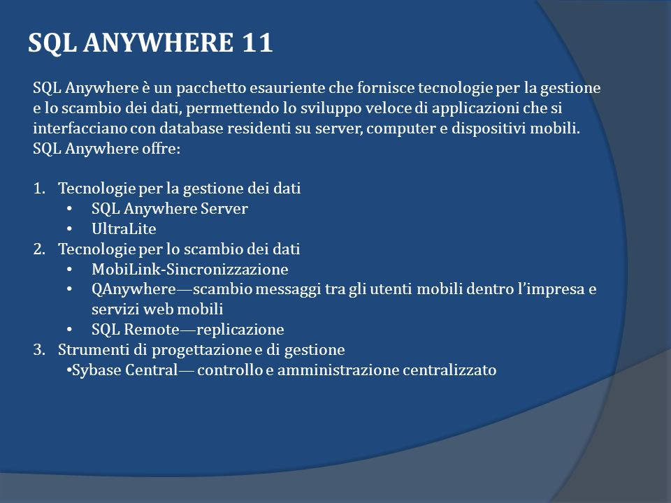 SQL ANYWHERE 11