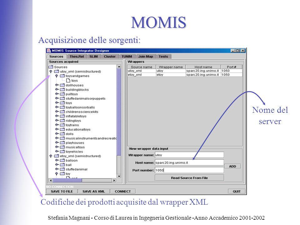 MOMIS Acquisizione delle sorgenti: Nome del server