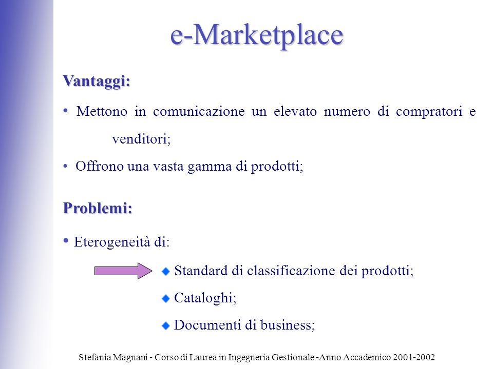 e-Marketplace Eterogeneità di: Vantaggi: