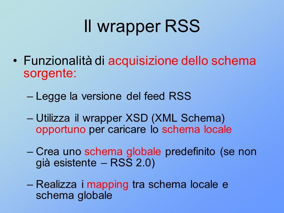 Il wrapper RSS Funzionalità di acquisizione dello schema sorgente: