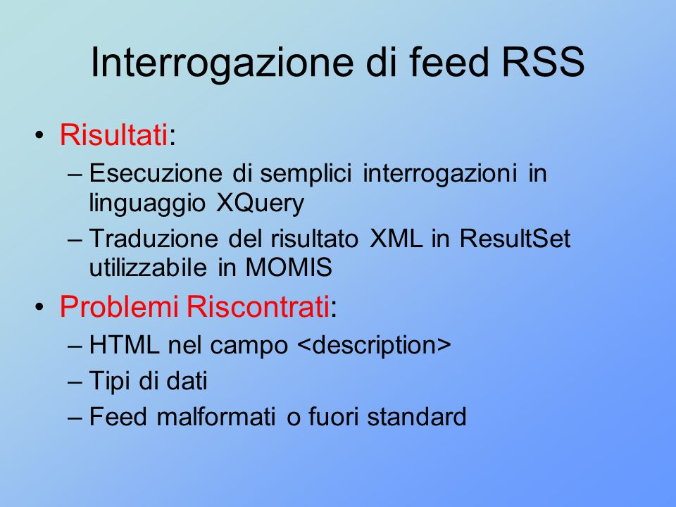 Interrogazione di feed RSS