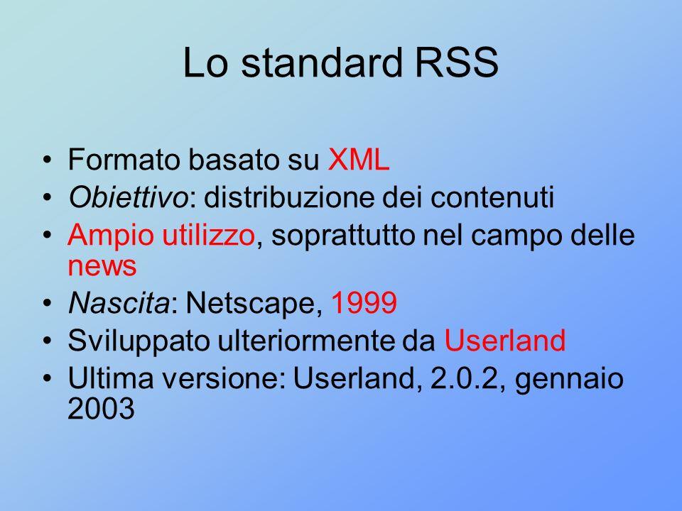 Lo standard RSS Formato basato su XML