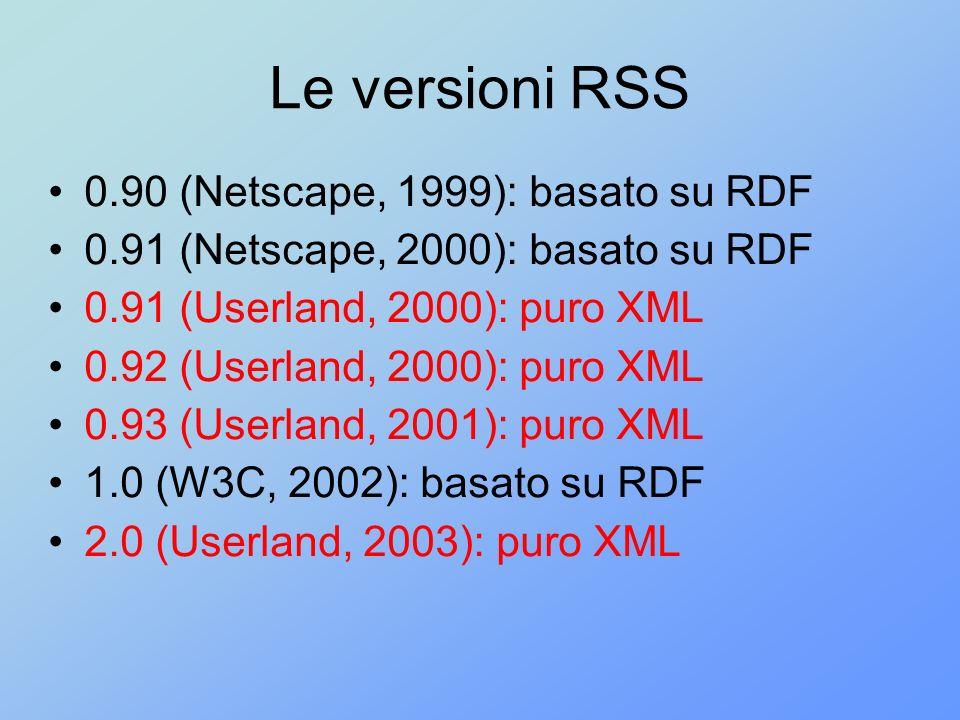 Le versioni RSS 0.90 (Netscape, 1999): basato su RDF