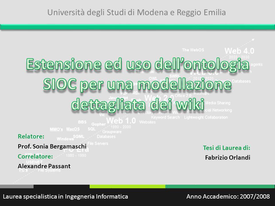 Relatore: Prof. Sonia Bergamaschi Correlatore: Alexandre Passant
