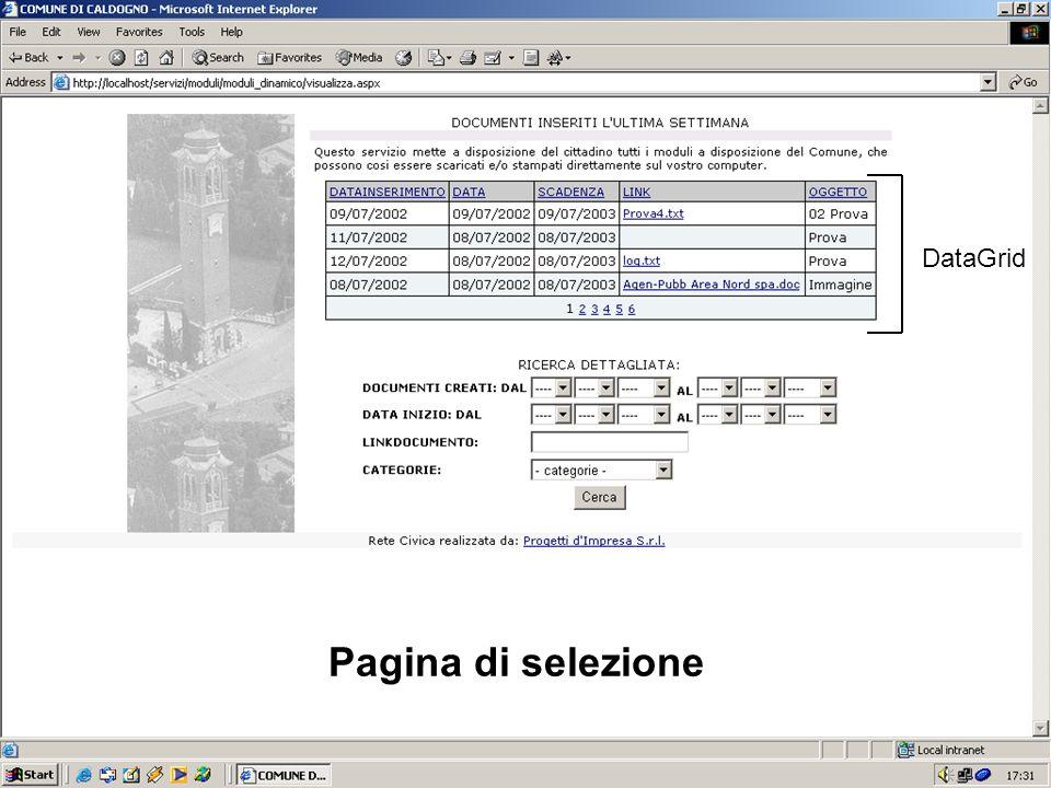 DataGrid Pagina di selezione