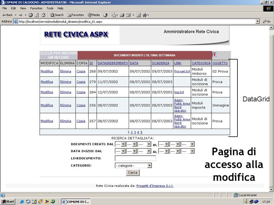 Pagina di accesso alla modifica