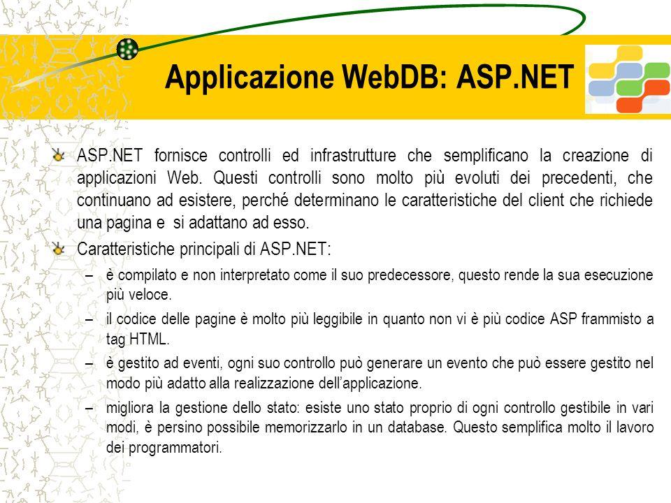 Applicazione WebDB: ASP.NET