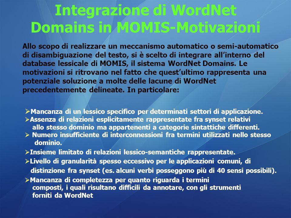 Integrazione di WordNet Domains in MOMIS-Motivazioni