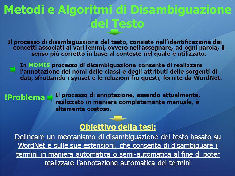 Metodi e Algoritmi di Disambiguazione del Testo