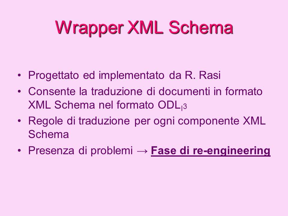 Wrapper XML Schema Progettato ed implementato da R. Rasi
