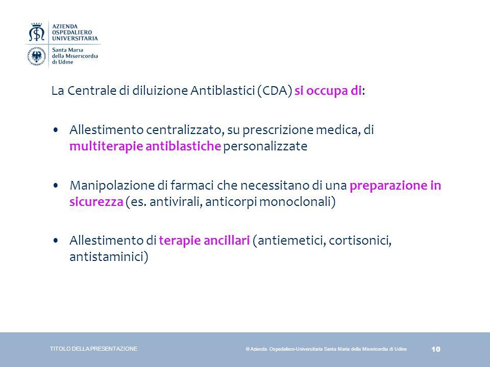 La Centrale di diluizione Antiblastici (CDA) si occupa di: