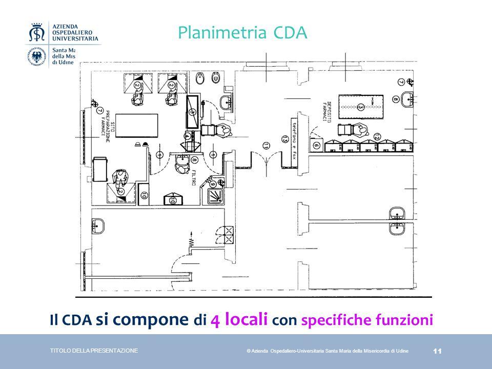 Planimetria CDA Il CDA si compone di 4 locali con specifiche funzioni