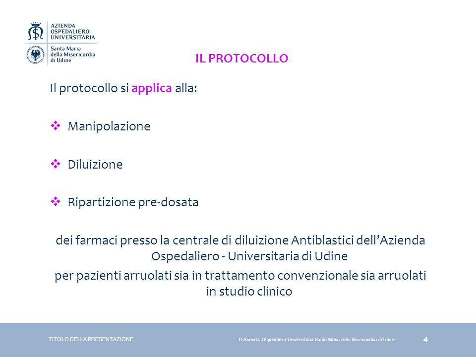 Il protocollo si applica alla: Manipolazione Diluizione