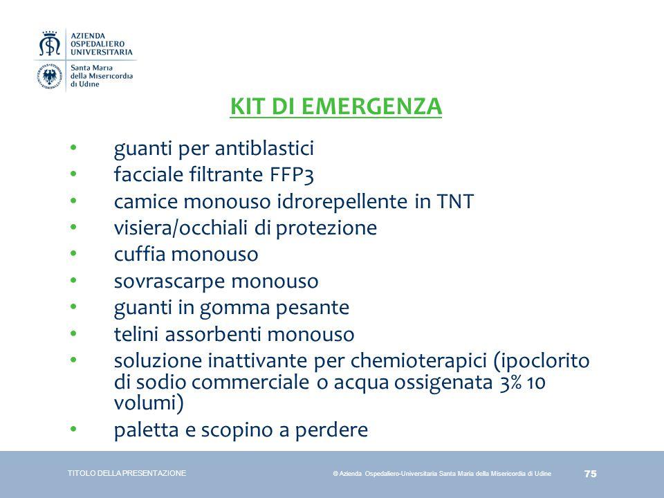 KIT DI EMERGENZA guanti per antiblastici facciale filtrante FFP3