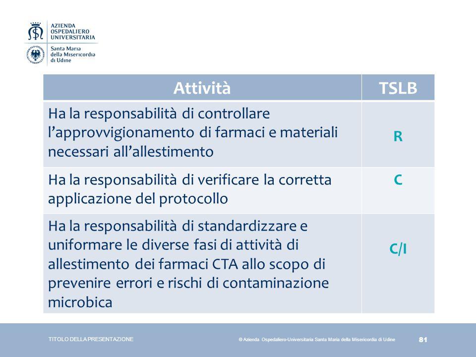 Attività TSLB. Ha la responsabilità di controllare l'approvvigionamento di farmaci e materiali necessari all'allestimento.