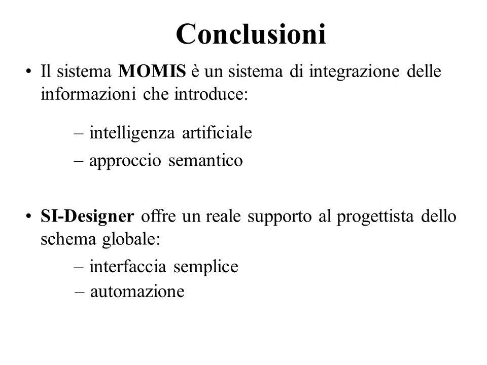 Conclusioni Il sistema MOMIS è un sistema di integrazione delle informazioni che introduce: intelligenza artificiale.