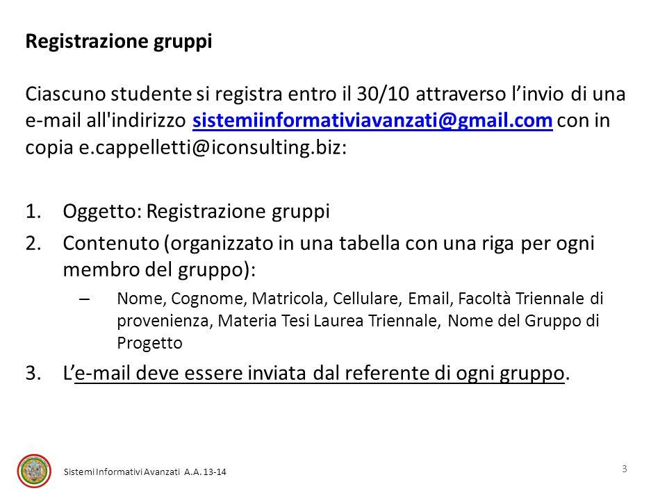 Oggetto: Registrazione gruppi
