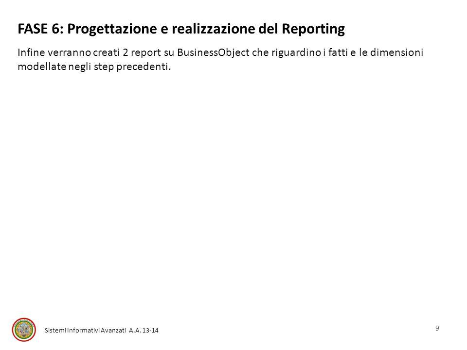 FASE 6: Progettazione e realizzazione del Reporting