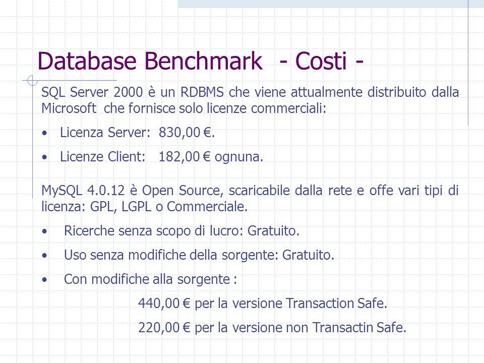 Database Benchmark - Costi -