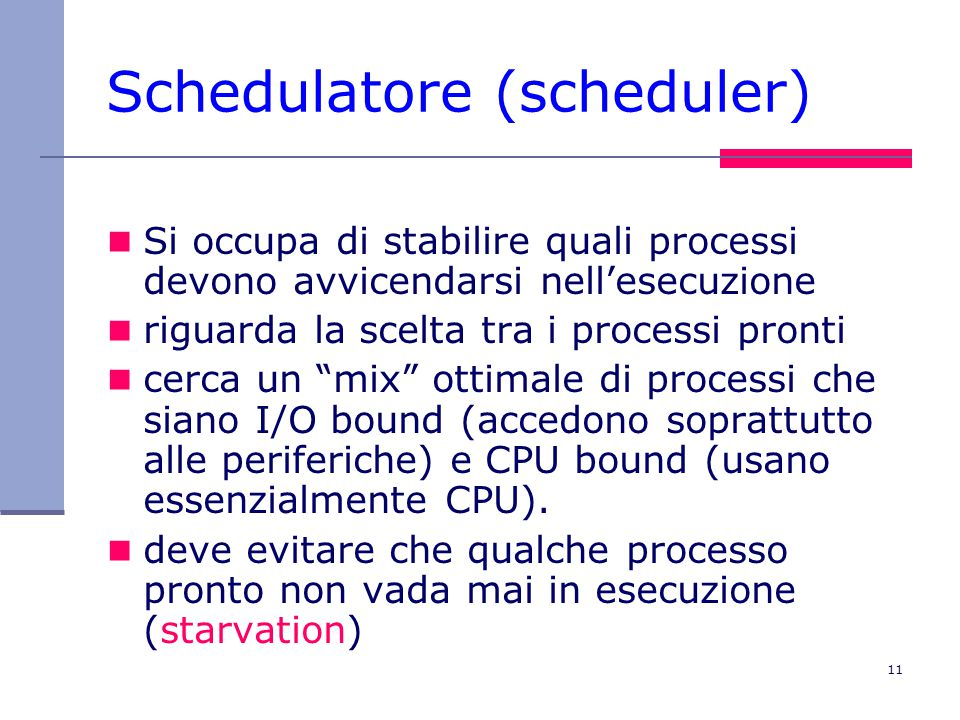 Schedulatore (scheduler)