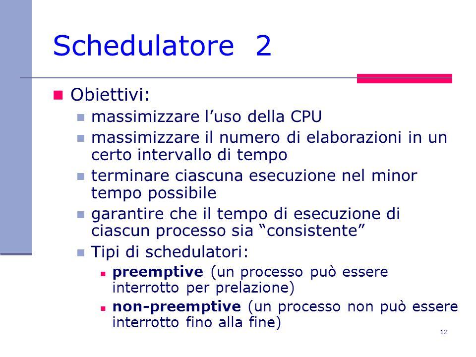 Schedulatore 2 Obiettivi: massimizzare l'uso della CPU