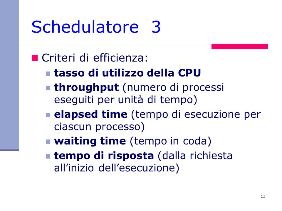 Schedulatore 3 Criteri di efficienza: tasso di utilizzo della CPU
