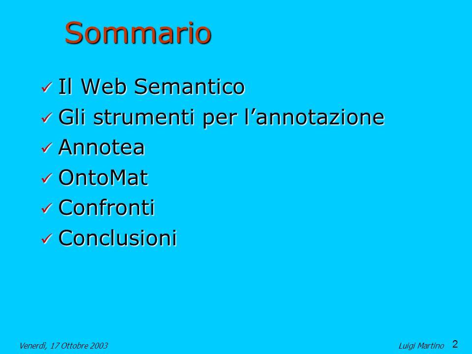 Sommario Il Web Semantico Gli strumenti per l'annotazione Annotea