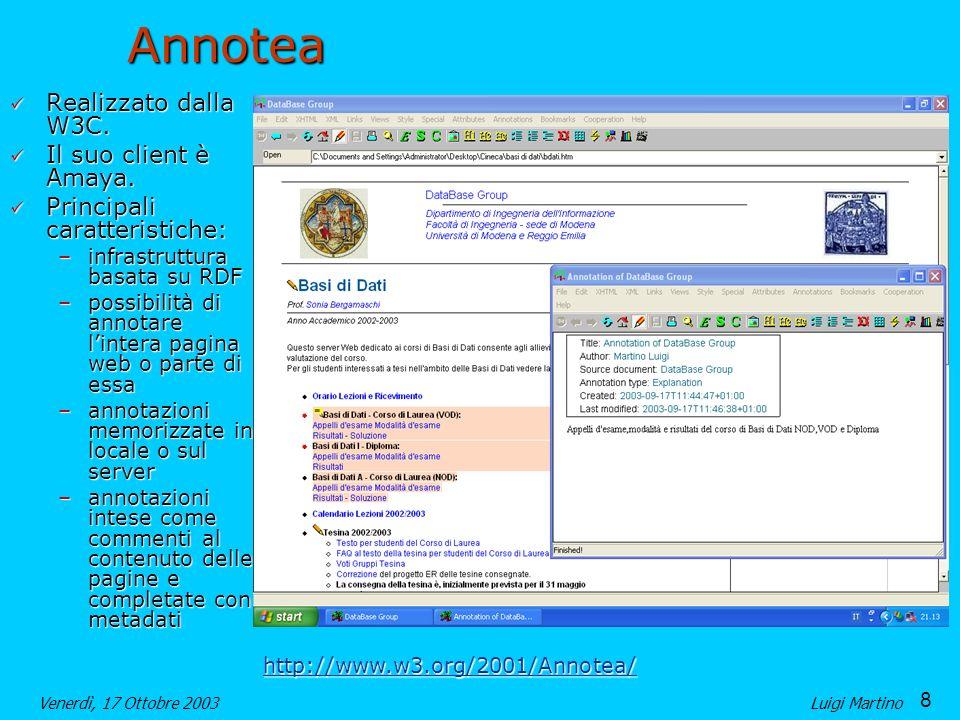 Annotea Realizzato dalla W3C. Il suo client è Amaya.
