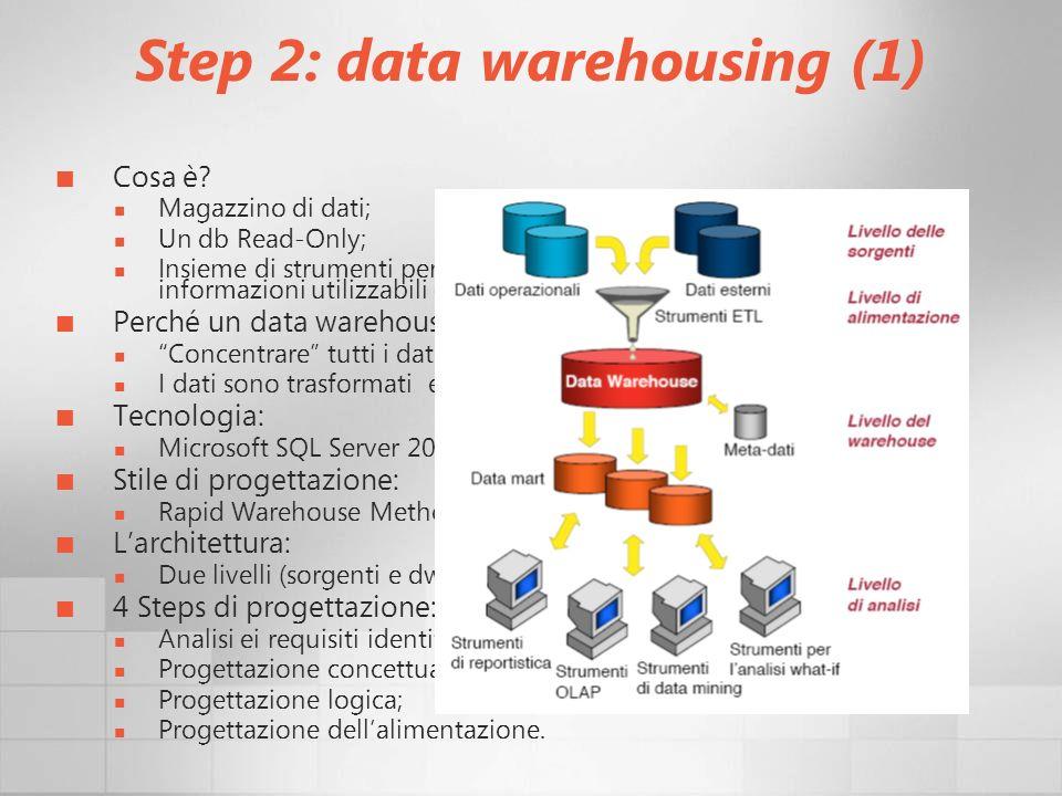 Step 2: data warehousing (1)