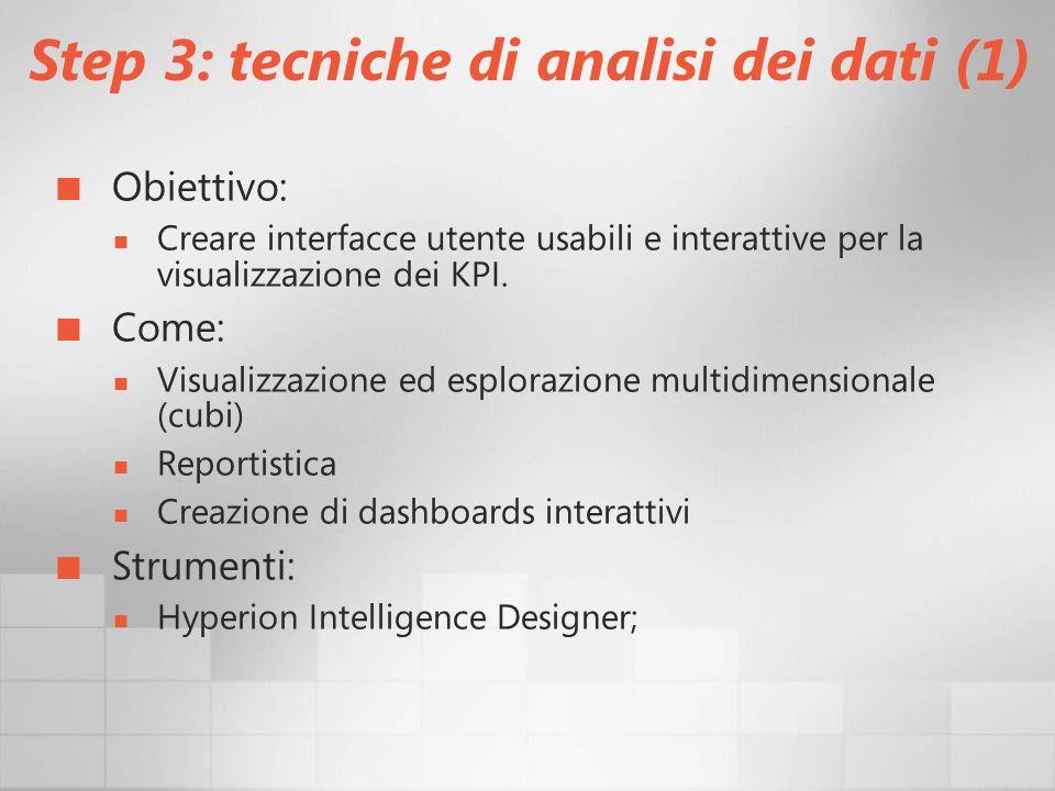 Step 3: tecniche di analisi dei dati (1)