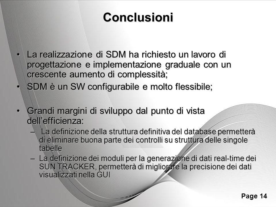 Conclusioni La realizzazione di SDM ha richiesto un lavoro di progettazione e implementazione graduale con un crescente aumento di complessità;