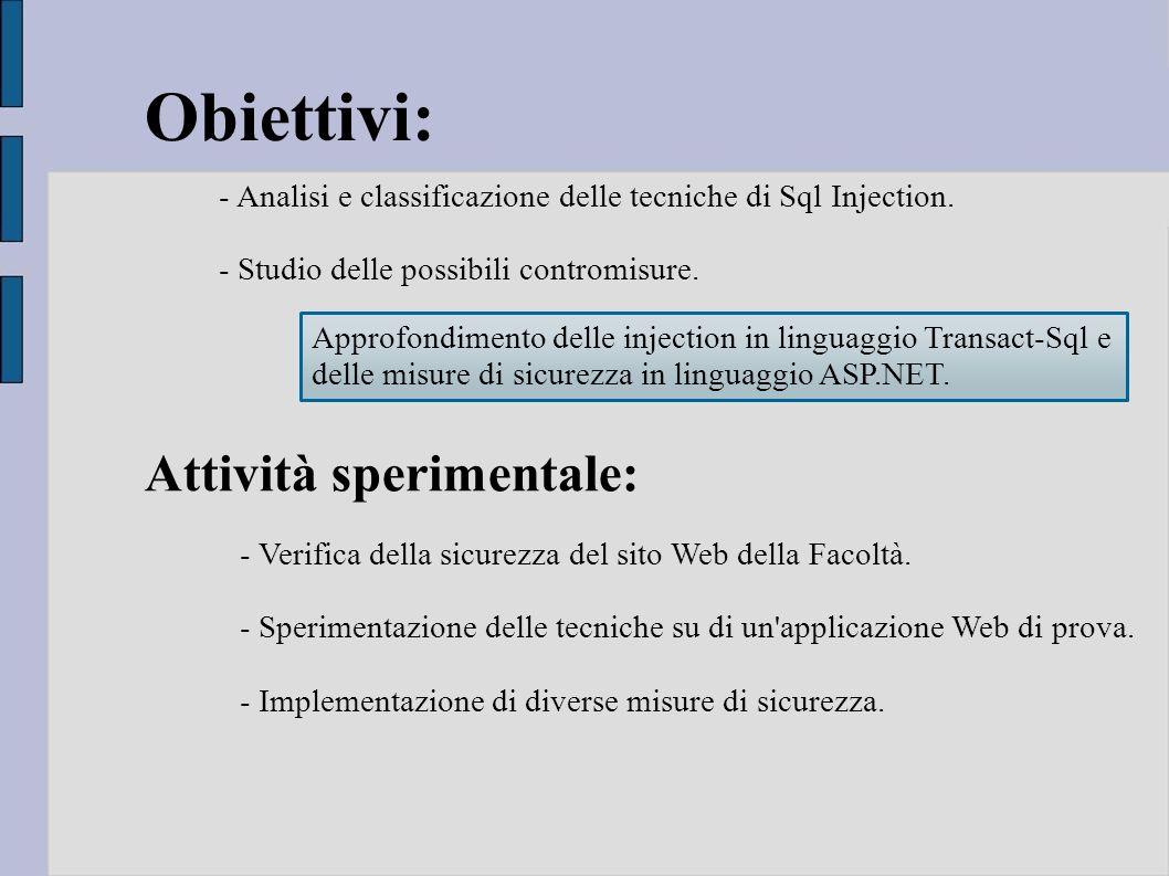 Obiettivi: Attività sperimentale: