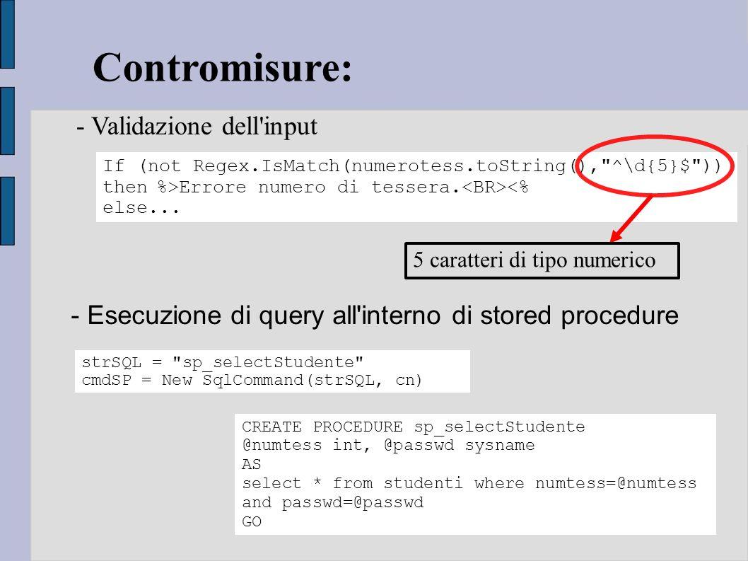 Contromisure: - Validazione dell input