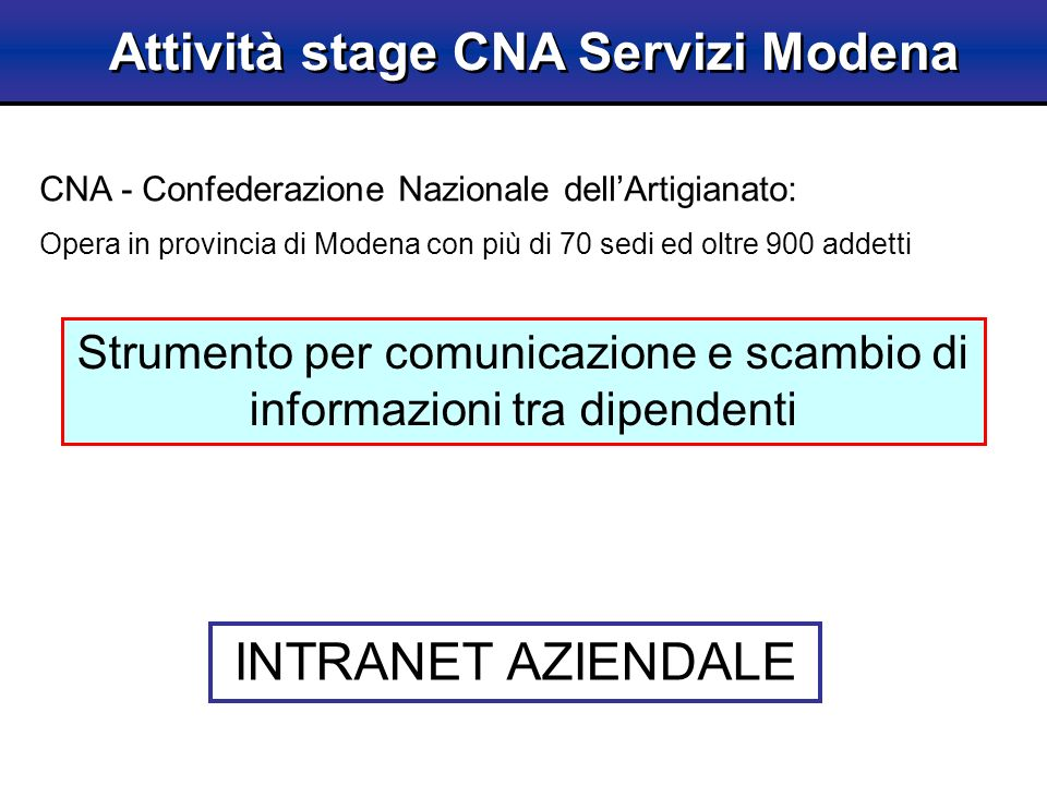 Attività stage CNA Servizi Modena