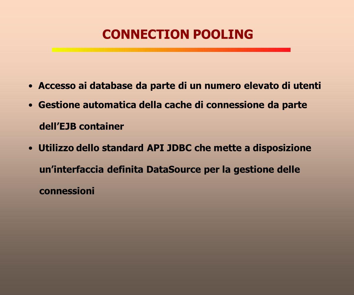 CONNECTION POOLING Accesso ai database da parte di un numero elevato di utenti. Gestione automatica della cache di connessione da parte.
