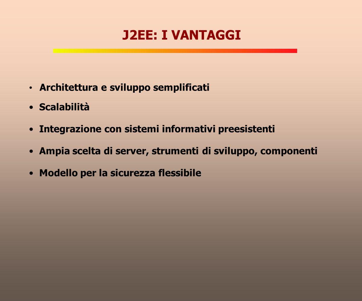 J2EE: I VANTAGGI Architettura e sviluppo semplificati Scalabilità