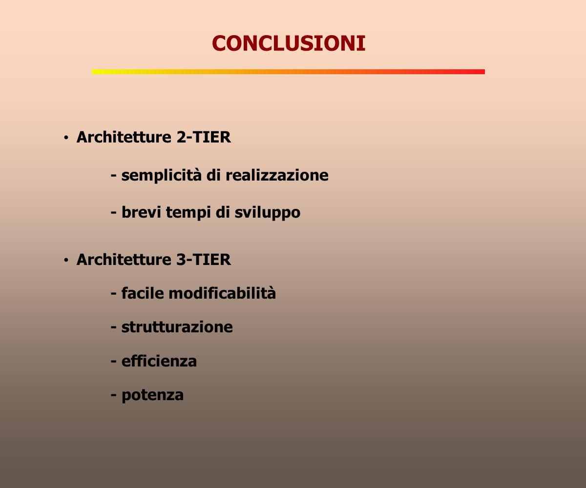 CONCLUSIONI Architetture 2-TIER - semplicità di realizzazione