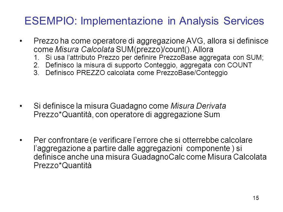 ESEMPIO: Implementazione in Analysis Services