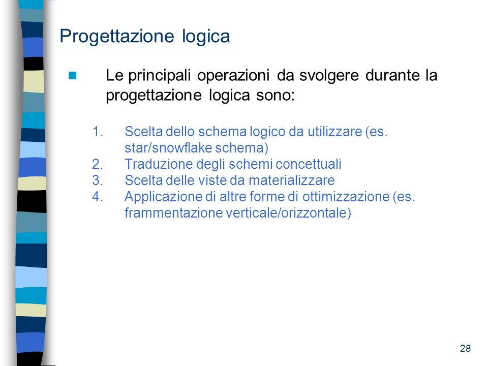 Progettazione logica Le principali operazioni da svolgere durante la progettazione logica sono: